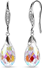 YOURDORA Women's s925 Sterling Silver Dangle & Drop Earrings Long with Aurore Borealis Crystals from Swarovski Elements Ideal Gifts Hypoallergenic