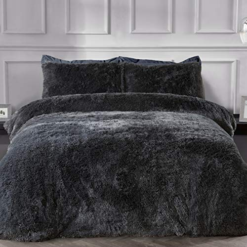 Sleepdown Fleece Long Pile Faux Fur Charcoal Grey Super Soft Easy Care Duvet Cover Quilt Bedding Set with Pillowcases - Double (200cm x 200cm)