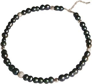 Gemshine - Collana da donna in argento Sterling o oro 18 carati con perle coltivate barocche, colore: Grigio Tahiti