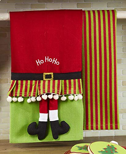The Lakeside Collection Set of 2 Novelty Kitchen Towels - Santa