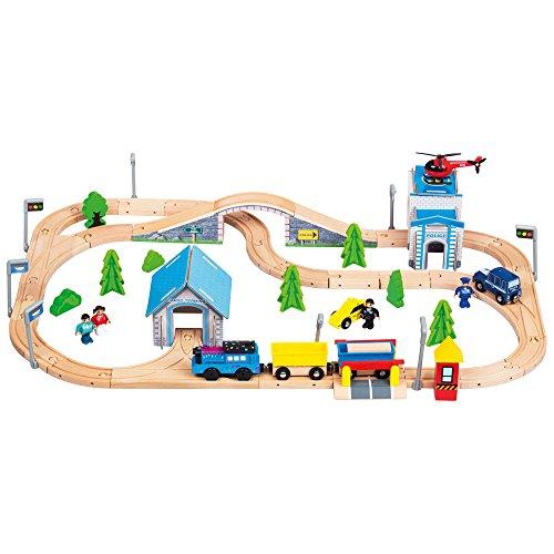 Bino & Mertens 1 Holzeisenbahn, Spielzeug für Kinder ab 3 Jahre, Kinderspielzeug Holzeisenbahn elektronische Lok, Holzspielzeug mit Zubehör, kompatibel zu allen marktüblichen Systemen