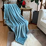 LOMAO Flannel Blanket with Pompom Fringe Lightweight Cozy Bed Blanket Soft Throw Blanket fit Couch Sofa Suitable for All Season (51x63) (Light Blue)