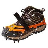 Crampones para botas de montaña con 19 puntos, crampones para cadenas de nieve, para montañismo, senderismo, esquí, actividades al aire libre, deportes de invierno (negro, M (35-39))