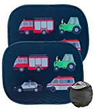 HECKBO® Parasol Autoadhesivo para Coche - protección Solar para niños (2 Piezas) | Motivo: vehículos | protección Solar para ventanillas de Coche | 44x36cm | Parasol para Coche con Bolsa incluida