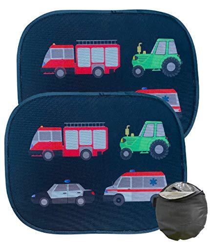 HECKBO 2x Selbsthaftende Auto Sonnenblende - Sonnenschutz für Kinder [2 Stück] (ohne Saugnäpfe) | Feuerwehr, Traktor, Polizei & Krankenwagen | Kinder Sonnenblende | 44x36cm | inkl. gratis Tasche