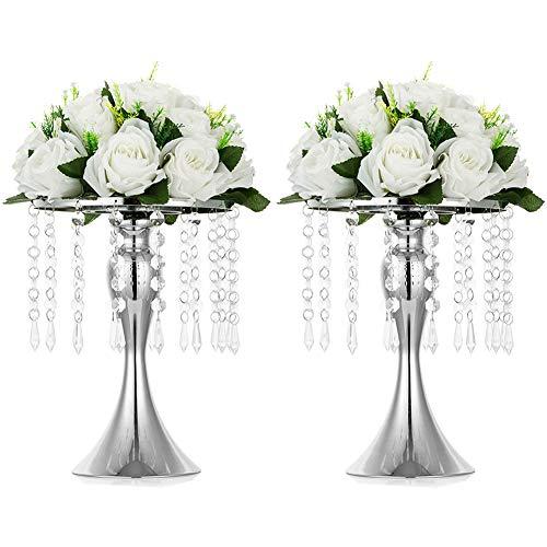 Nuptio Jarrón de Flores Boda de Metal Mesa 2 Piezas, Jarrones de 26cm de Altura para Centros Mesa, Soporte de Flores Cristal Plateado para Aniversario Ceremonia Fiesta Cumpleaños Decoración Hogar