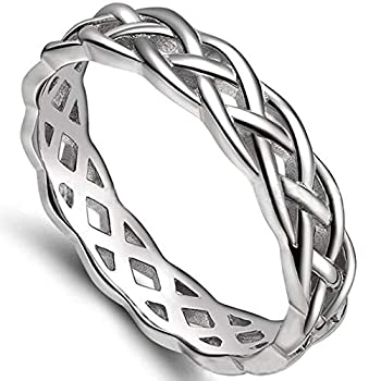 4mm Stainless Steel Celtic Knot Eternity Wedding Engagement Band Ring  Silver 6