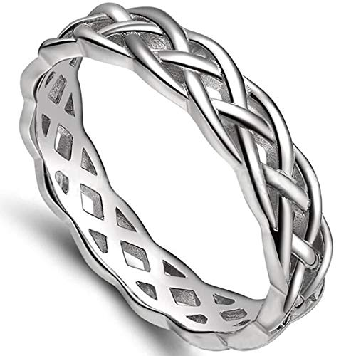 Jude Jewelers 4mm Stainless Steel Celtic Knot Eternity Wedding Engagement Band Ring (Silver, 10)