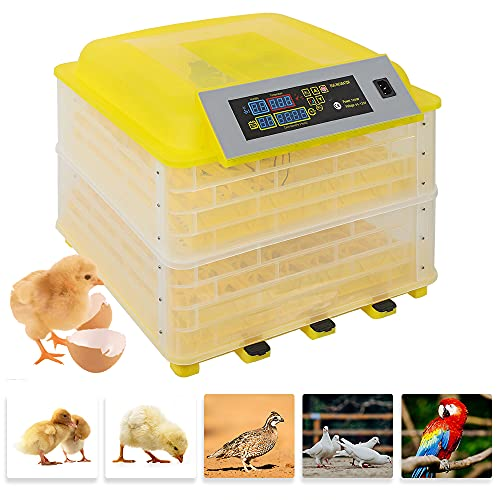 Egg Incubator Fully Automatic Digital 112 Eggs Poultry Hatcher Machine Breeder Temperature Control Auto Turning Hatching Chicken Duck Goose Quail Birds PrimeKits Gift Set for Kids (112 Eggs Yellow)