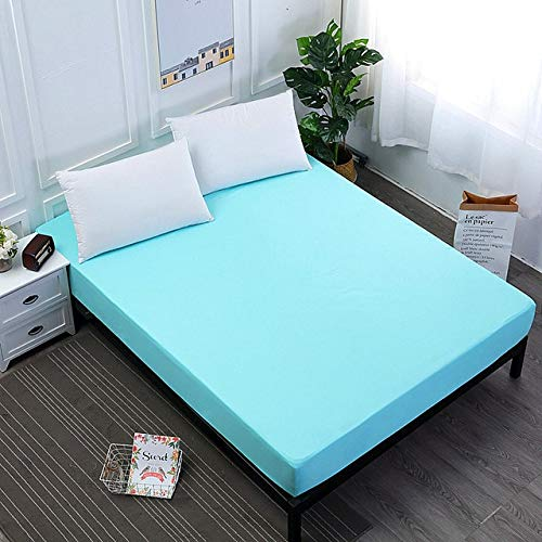 Solid Color Fitted Sheet Mattress Cover Bed Linen With Elastic Band Mattress Protector Pad Polyester King Size Bedding Set 150x200cm Sky Blue