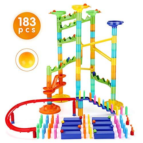 Ucradle Kugelbahn - 183pcs Mehrfarbige Murmelbahn, Marble Run Set Eisenbahn Bausteine Deluxe Rail Konstruktion, Marble Maze Race Track Spiel, Mint Lernspielzeug für Kinder Mädchen Jungen 4 5 6 7+