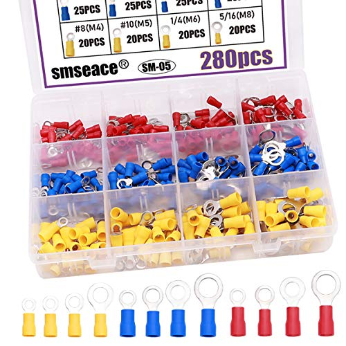 smseace 280pcs Insulated Ring terminals Red Yellow and Blue O-Type Wire Connector Electrical Crimp Terminal AWG 22-16 16-14 12-10 Connectors Assortment Kit SM-05