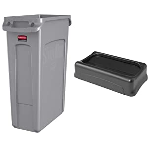 Rubbermaid Commercial Products Slim Jim Plastic Rectangular Trash/Garbage Can with Venting Channels, 23 Gallon, Gray (FG354060GRAY) & Swing Lid , Black (FFG267360BLA), 5