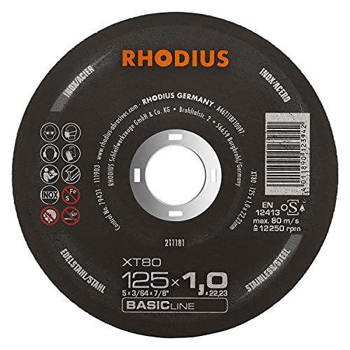 RHODIUS extra dünne INOX Trennscheiben Metall XT80 Ø 125 x 1,0 x 22,23 mm Metalltrennscheibe 50 Stück