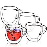 KADAX doppelwandige Glas Tasse, 250 ml, Glas mit breitem Griff, Trinkglas für Saft, Tee, Kaffee, Cappuccino, Wasser, Eistee, EIS, Universalglas, Teeglas,...