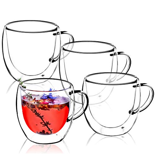 KADAX doppelwandige Glas Tasse, 250 ml, Glas mit breitem Griff, Trinkglas für Saft, Tee, Kaffee, Cappuccino, Wasser, Eistee, EIS, Universalglas, Teeglas, Vakuum (4)