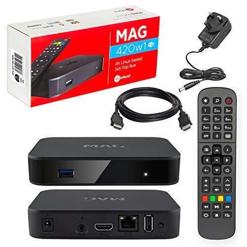 mag 420 / 420w1 Original Infomir & HB-DIGITAL 4K IPTV Kit Top Box Multimedia Reproductor de Internet TV IP Receptor # 4K UHD 60 FPS 2160p @ 60 FPS HDMI 2.0 HEVC H.265 Arm Cortex-A53# WiFi