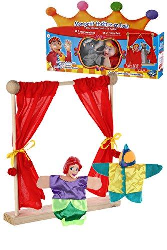 Mon petit théâtre en bois et mes 2 marionnettes Ariel et Polochon