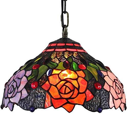 LEIKAS E27 - Accesorio de iluminación Vintage para Cocina, Isla, Escalera, Dormitorio, guardarropa, lámpara Colgante Estilo Tiffany, lámpara rústica Pastoral de 12 Pulgadas