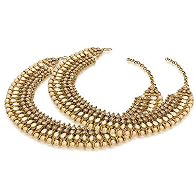 The Luxor Gold Plated Fashionable Golden Alloy Anklets for Women (AK-5074)