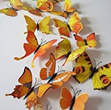 12pcs 6 big 6 small PVC 3d Butterfly Tatoos Wall Sticker Home Decoration Decals - Yellow