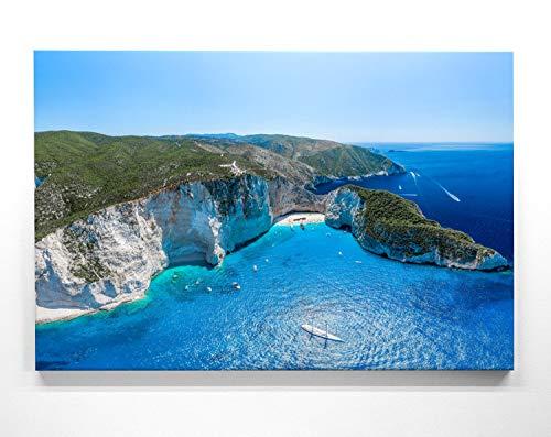 Atemberaubendes Leinwand-Bild Strand Griechenland Zakynthos - als 200x150cm großes XXL Wandbild, toll als Hintergrund & Deko für Wohnzimmer & Schlafzimmer. Fertig aufgespannt auf 4cm Holz-Keilrahmen