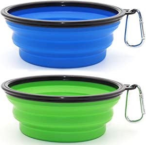 SLSON Collapsible 2 Pack Water Bowls for Dogs