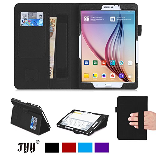 Galaxy Tab S2 8.0 Case, Samsung Galaxy Tab S2 8.0 Case, Fyy [Super Functional Series] Premium PU Leather Case Stand Cover with Card Slots, Note Holder, Quality Hand Strap and Elastic Strap for Samsung Galaxy Tab S2 8.0 inch Black (With Auto Wake/Sleep Feature)