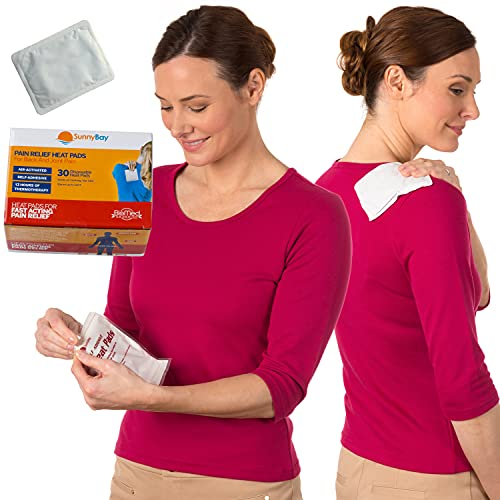 SunnyBay Heat Therapy Patches, 30-Pack – Air-Activated, Adhesive Heating Pad for Shoulder, Neck, Back, Menstrual, & Knee Pain Relief, 3.5x5 in.