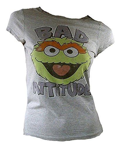 Famous Forever Damen Lady T-Shirt Grau Meliert Gray Official Sesam Street 123 Sesamstrasse Merchandise Bad Attitude Oskar Monster Mülltonne Kult Retro Vintage Löcher Kragen S 36