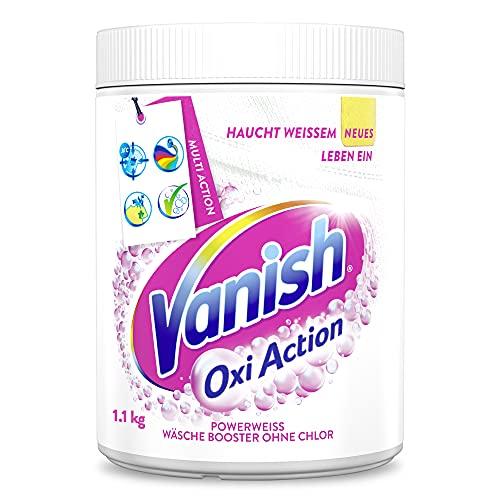 Vanish Oxi Action Pulver Powerweiss – Fleckentferner Pulver ohne Chlor – Zum Waschen, Vorbehandeln und Einweichen weißer Wäsche – 1 x 1,1 kg