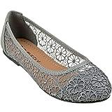 CLOVERLY Women's Ballet Shoe Floral Breathable Crochet Lace Ballet Flats (8 M US, Grey)