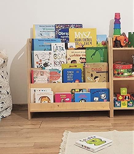 Mami – Estantería Montessoriana de madera para niños | dormitorio infantil | Porta libros cómics cuadernos diseño | 100% Made in Italy | 4 estantes | Modelo D