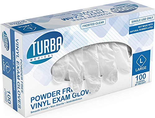 Disposable Vinyl Gloves, 100 Non Sterile, Powder Free, Latex Free - Examination Gloves, Cleaning Supplies, Kitchen and Food Safe - Turba (Large)