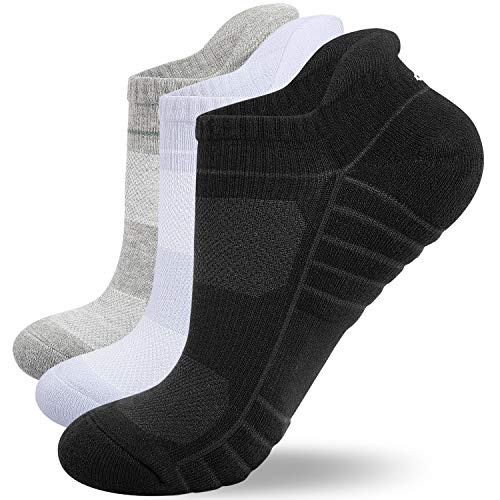 Benirap Running Socks Men Women, Ankle Socks Cushioned Trainer Socks Breathable Cotton Socks for Walking Hiking Cycling Sports Work (Black+White+Grey(3 pairs), 3-5)