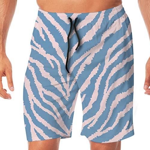 CVDGSAD Beach Seamless Pattern with Light Pink And Teal Blue Zebra Fur Print Swim Trunks Adjustable Waist Net Lining Quick Dry Breathable Swimwear Boardshort