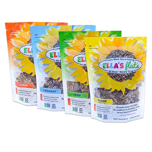 ELLA'S FLATS™ - Variety 4 pack - Certified Gluten Free, GMO Project Verified and Sugar Free, Grain Free, High Fiber, High Protein, Low Carb, Vegan, Keto Friendly, Whole 30, Paleo, Cholesterol Free