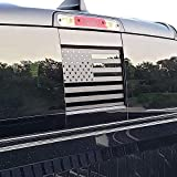 USA American Flag Vinyl Decal Rear Back Middle Sliding Window Flag Sticker with and Fits Dodge Ram,Matte Black