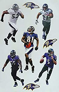 """Baltimore Ravens Mini FATHEAD Team Set 5 Players Official Vinyl Wall Graphics - Each Player 7"""" INCH"""