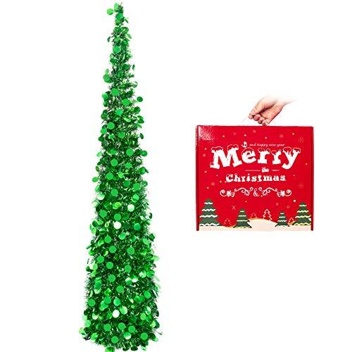 HOHOTIME Artificiel Sapin Noel Décoration de fête, Noël de Sapin Artificiel Pliable de 1,5 m, Arbre de Noël Noël Décoration Scintillantes Maison Intérieur Extérieur