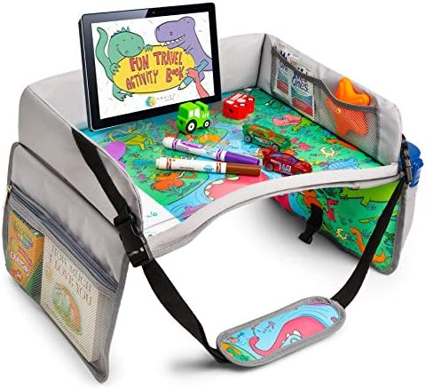Kids Travel Tray SEARCH FIND Dinosaur Design ANVICI Kids Lap Desk Tray Dry Erase Table for Carseat product image