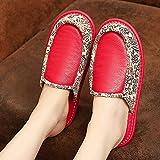 Zapatillas Mujer Casa,Pantuflas para Mujer Invierno Retro Rojo PU Cuero Patrón De Costura Cierre Étnico Suave Y Cálido Piso Zapatilla Pantuflas Mullidas Lavables Antideslizantes Interiores Zapato