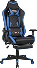 Cyrola Large Gaming Chair with Footrest High Back Adjustable Armrest Heavy Duty PC Racing Gaming Chair for Adults Gamer Chair Ergonomic Design Video Game Chair Lumbar Support Blue/Black