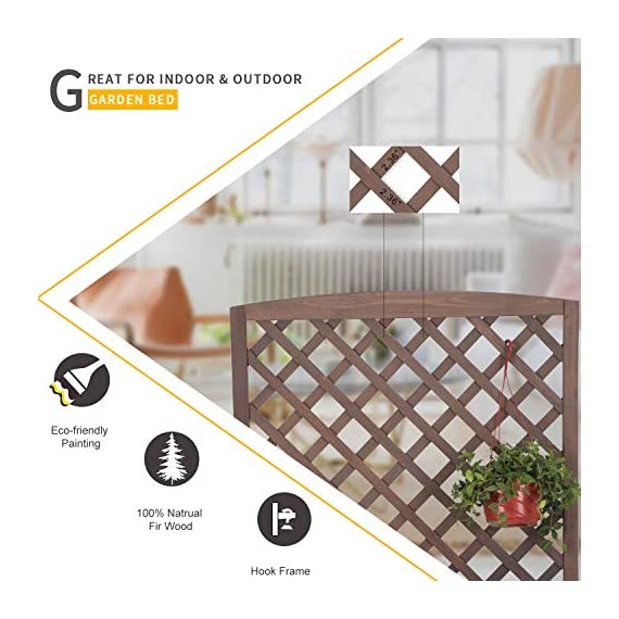 """Raised Garden Bed Outdoor Planter Box with Trellis for Flower Standing Vertical Lattice Panels for Vine 31"""" L x 12"""" W x 47"""" H 2 OVERALL DIMENSIONS: 31.1""""(L) x 12.2""""(W) x47.2""""(H).garden raised bed perfect for all kinds of plants, anywhere - gardens,yard, terraces, balconies, corridors,patios, turn your space into a green one. Garden planter with trellis creates a good stable environment for your creeping and vine plants.Any kind of Light gardening tools and beautiful decorations can be hung on the trellis to beautify your garden. Reinforced thick frame supported flower box can strongly hold for the heavy plants,soil, water. Large space to grow anything from flowers to vegetables to herbs,it can serve a decorative work,also fully plays it practical role."""