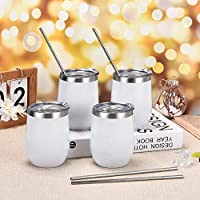 4 Pack 12Oz Stainless Steel Stemless Wine Tumbler Wine Glasses Set with Lid Set of 4 for Coffee Wine Shatterproof - BPA Free Healthy Choice Novelty Gifts for Men Women or Family Party Use(White) [並行輸入品]