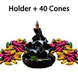 incense cones and holder - Ivenf Ceramic Censer, Backflow Variety Mixed Aromatherapy Incense Cones and Holder/Burner Set, Appox. 40 Cones(8 Kinds Assorted) & 1 Holder