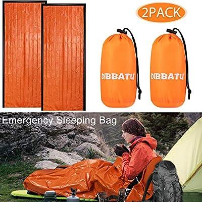 DIBBATU Emergency Survival Sleeping Bag, Thermal Bivy Sack Blanket, Waterproof Lightweight, Mylar Portable Nylon Sack for Camping Hiking Outdoor Adventure Activities (2 Pack)