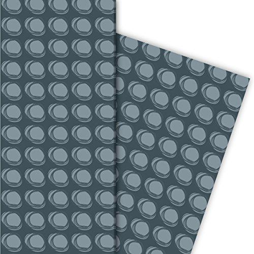 Modern cadeaupapier met ringen voor leuke geschenkverpakking en verrassingen 32 x 48 cm (4 vellen) decoratiepapier, papier om in te pakken, voor leuke cadeauverpakking en verrassingen, in grijs