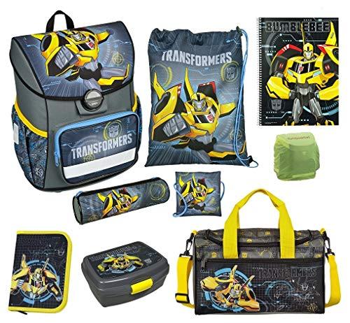 Familando Transformers Bumblebee Schulranzen-Set 9 TLG. mit Federmappe, Dose, Sporttasche und Regenschutz
