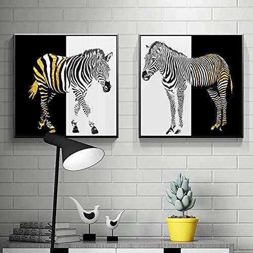 YB Canvas Scandinavisch Schilderij Prints Zwart Goud Zebra Wooncultuur Dieren Posters Wandkunstwerken Moderne Cuadros Modulaire Slaapkamer Afbeeldingen 60x60cm No Frame